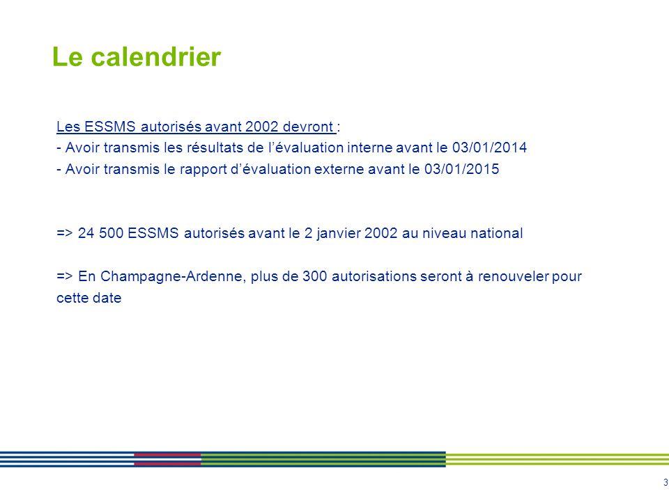 Le calendrier Les ESSMS autorisés avant 2002 devront :