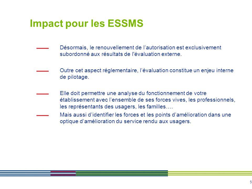 Impact pour les ESSMS Désormais, le renouvellement de l'autorisation est exclusivement subordonné aux résultats de l évaluation externe.