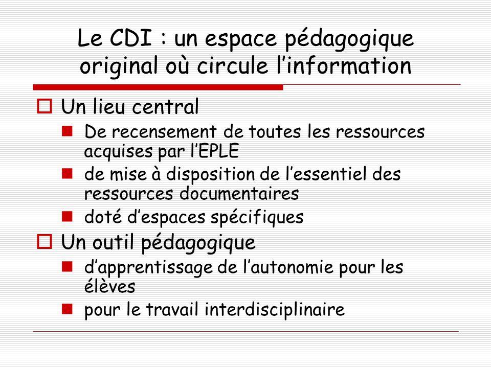 Le CDI : un espace pédagogique original où circule l'information
