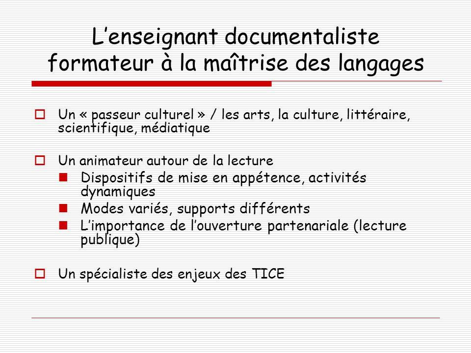 L'enseignant documentaliste formateur à la maîtrise des langages