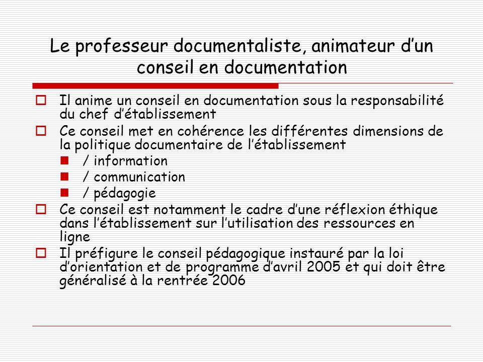 Le professeur documentaliste, animateur d'un conseil en documentation