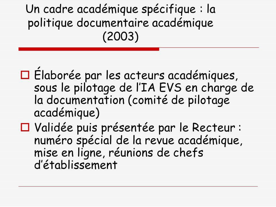Un cadre académique spécifique : la politique documentaire académique (2003)
