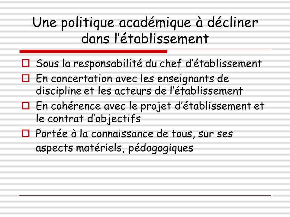 Une politique académique à décliner dans l'établissement