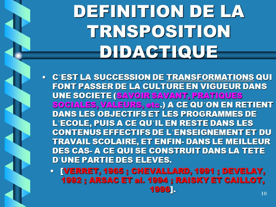 DEFINITION DE LA TRNSPOSITION DIDACTIQUE