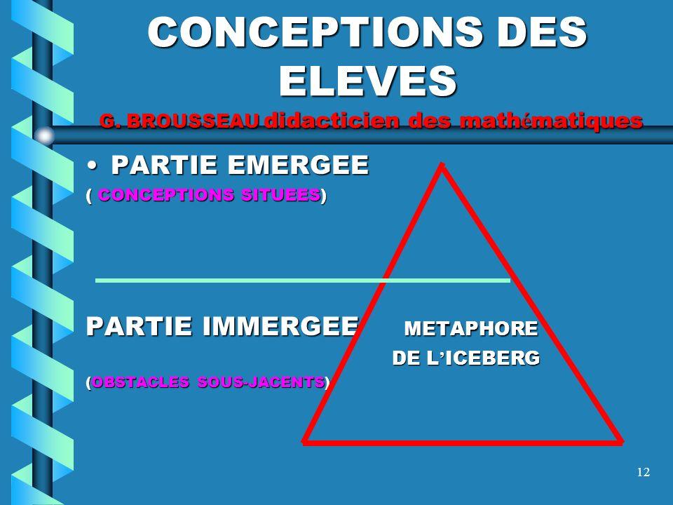 CONCEPTIONS DES ELEVES G. BROUSSEAU didacticien des mathématiques