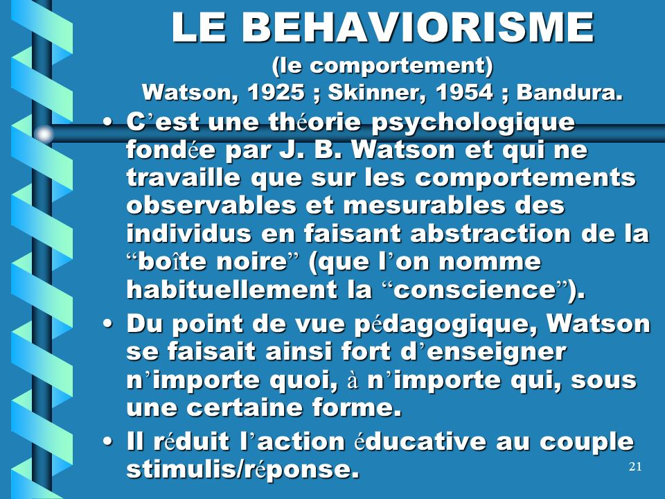 LE BEHAVIORISME (le comportement) Watson, 1925 ; Skinner, 1954 ; Bandura.