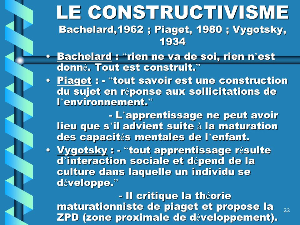 LE CONSTRUCTIVISME Bachelard,1962 ; Piaget, 1980 ; Vygotsky, 1934
