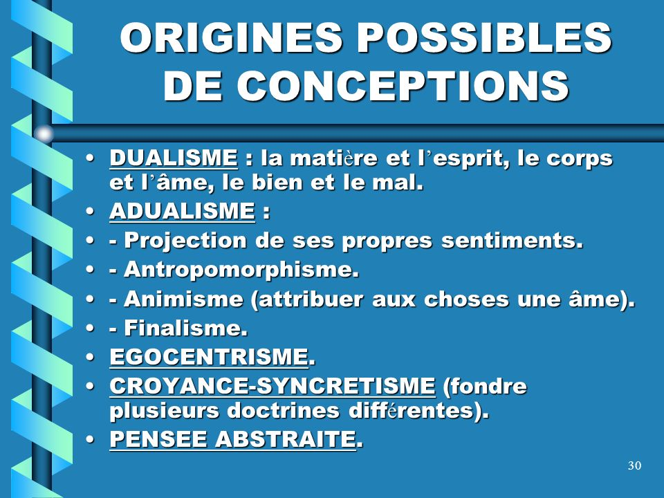 ORIGINES POSSIBLES DE CONCEPTIONS