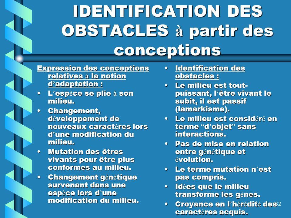 IDENTIFICATION DES OBSTACLES à partir des conceptions