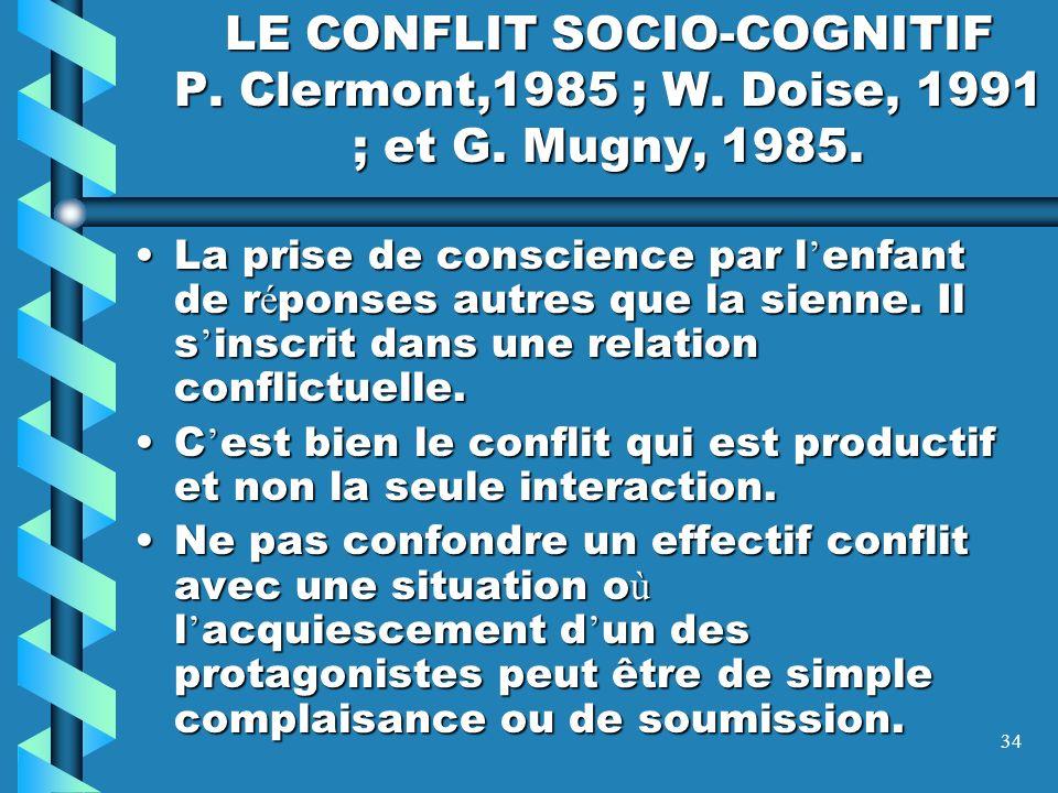 LE CONFLIT SOCIO-COGNITIF P. Clermont,1985 ; W. Doise, 1991 ; et G