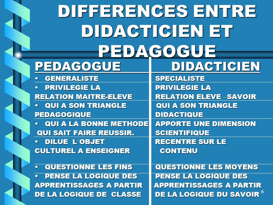 DIFFERENCES ENTRE DIDACTICIEN ET PEDAGOGUE