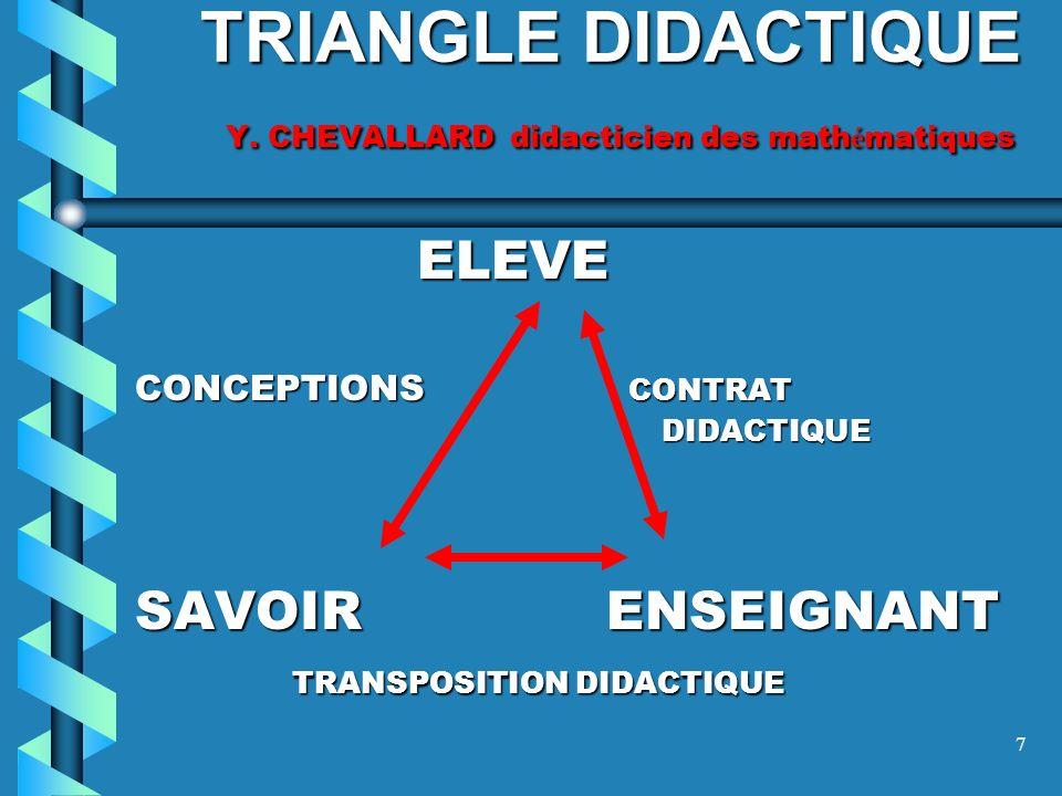 TRIANGLE DIDACTIQUE Y. CHEVALLARD didacticien des mathématiques