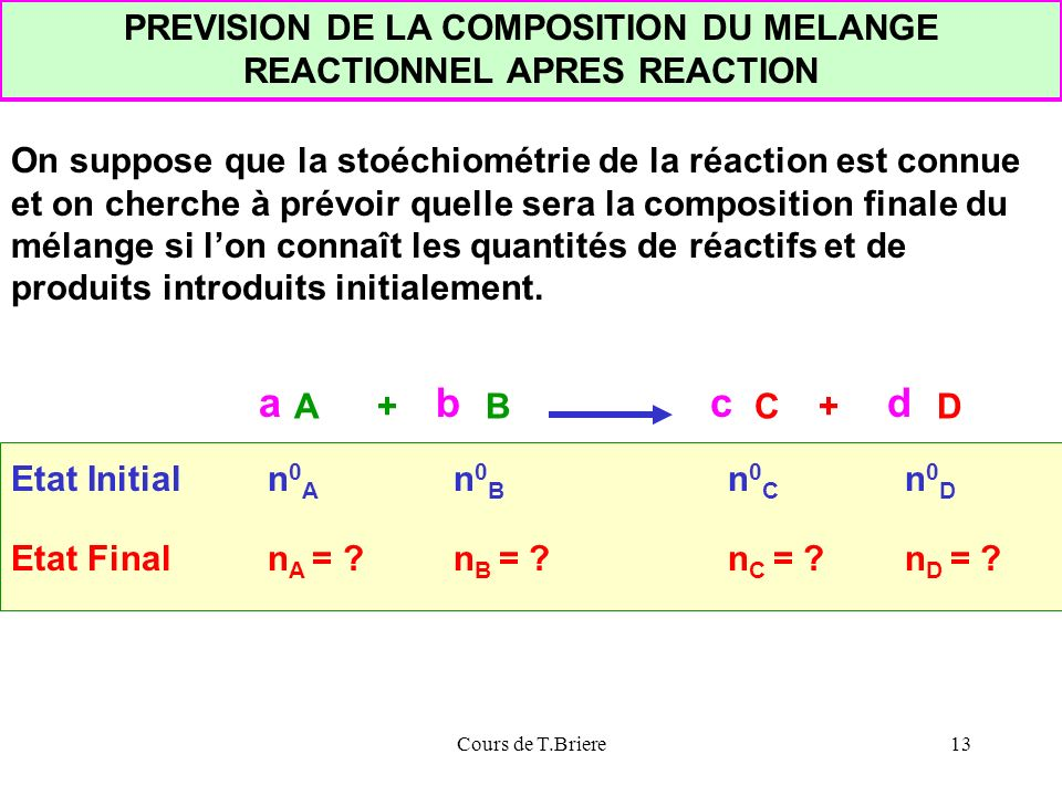 PREVISION DE LA COMPOSITION DU MELANGE REACTIONNEL APRES REACTION