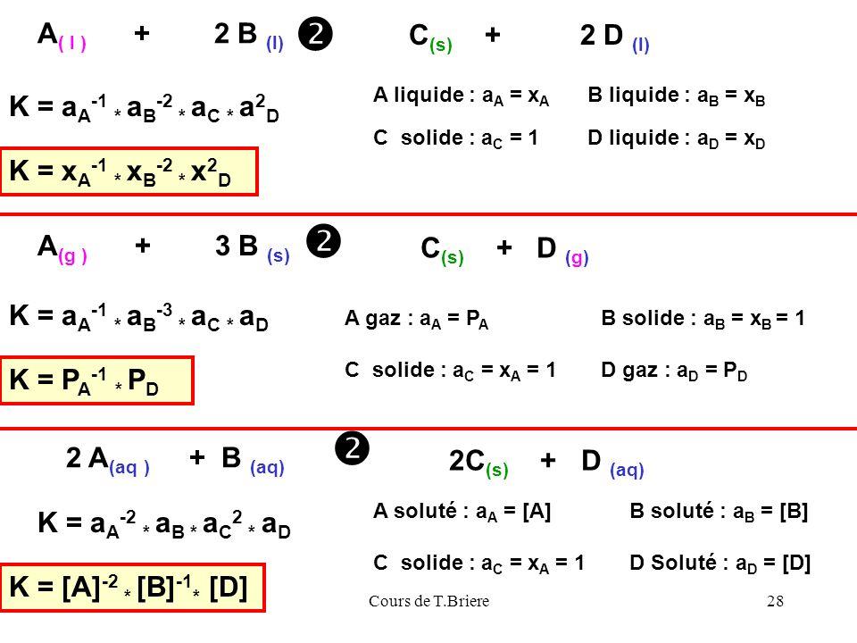    A( l ) + 2 B (l) C(s) + 2 D (l) K = aA-1 * aB-2 * aC * a2D