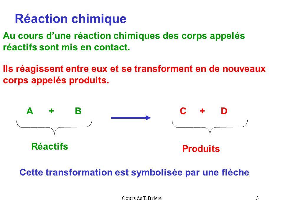 Réaction chimique Au cours d'une réaction chimiques des corps appelés réactifs sont mis en contact.