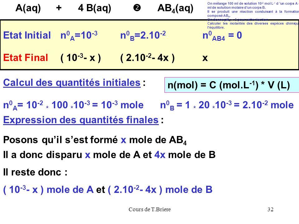 Calcul des quantités initiales : n(mol) = C (mol.L-1) * V (L)