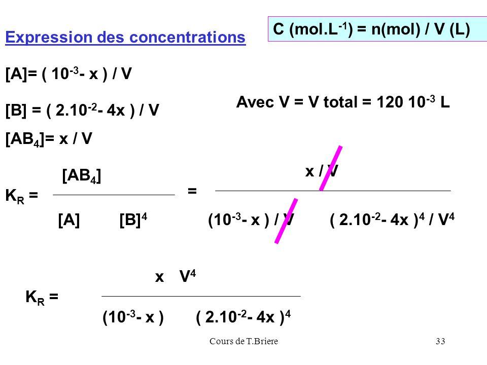 C (mol.L-1) = n(mol) / V (L) Expression des concentrations