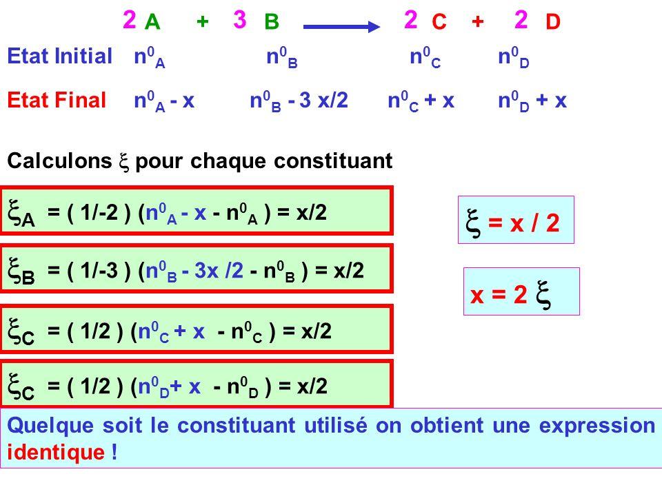x = x / 2 xA = ( 1/-2 ) (n0A - x - n0A ) = x/2