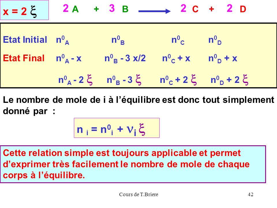 x = 2 x 2 3 n i = n0i + ni x A + B C + D Etat Initial n0A n0B