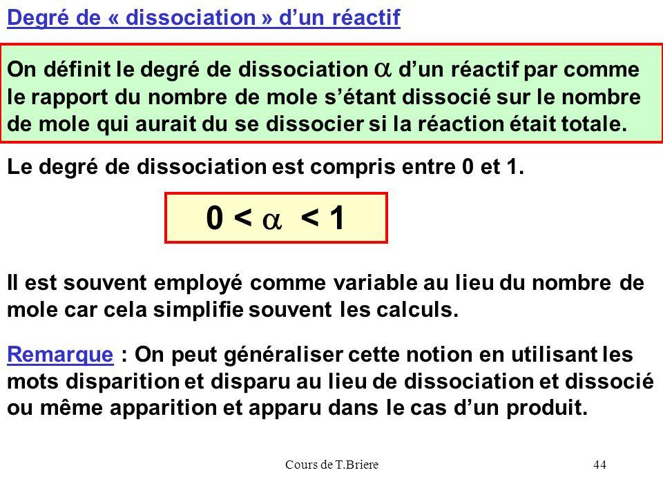 0 < a < 1 Degré de « dissociation » d'un réactif