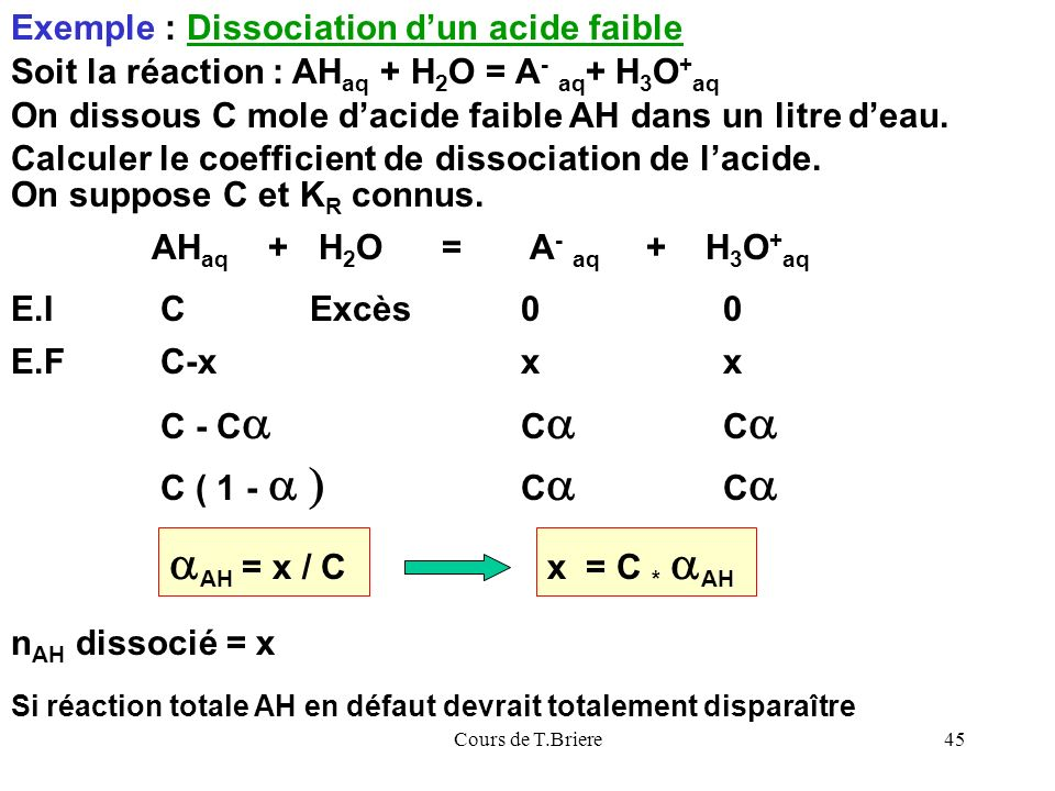 aAH = x / C Exemple : Dissociation d'un acide faible
