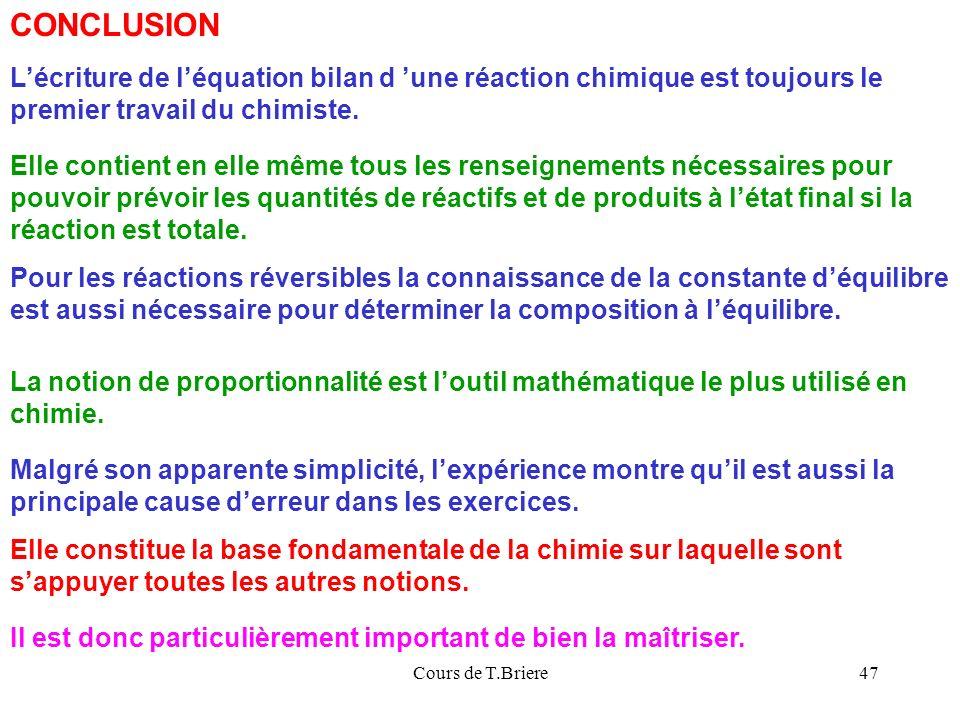 CONCLUSION L'écriture de l'équation bilan d 'une réaction chimique est toujours le premier travail du chimiste.