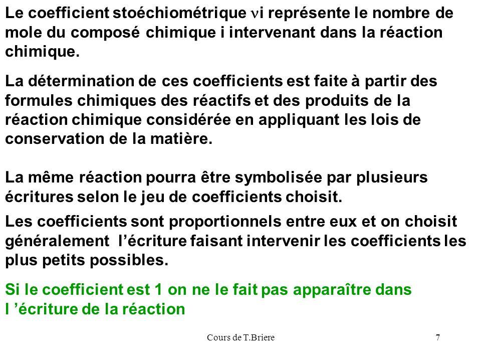 Le coefficient stoéchiométrique ni représente le nombre de mole du composé chimique i intervenant dans la réaction chimique.
