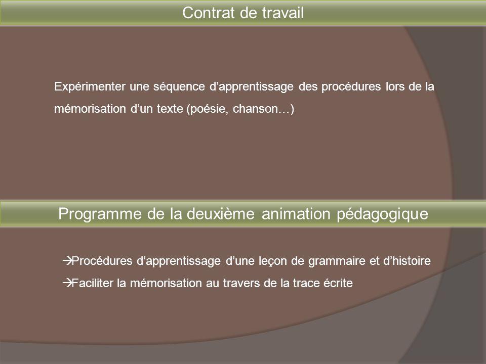 Programme de la deuxième animation pédagogique