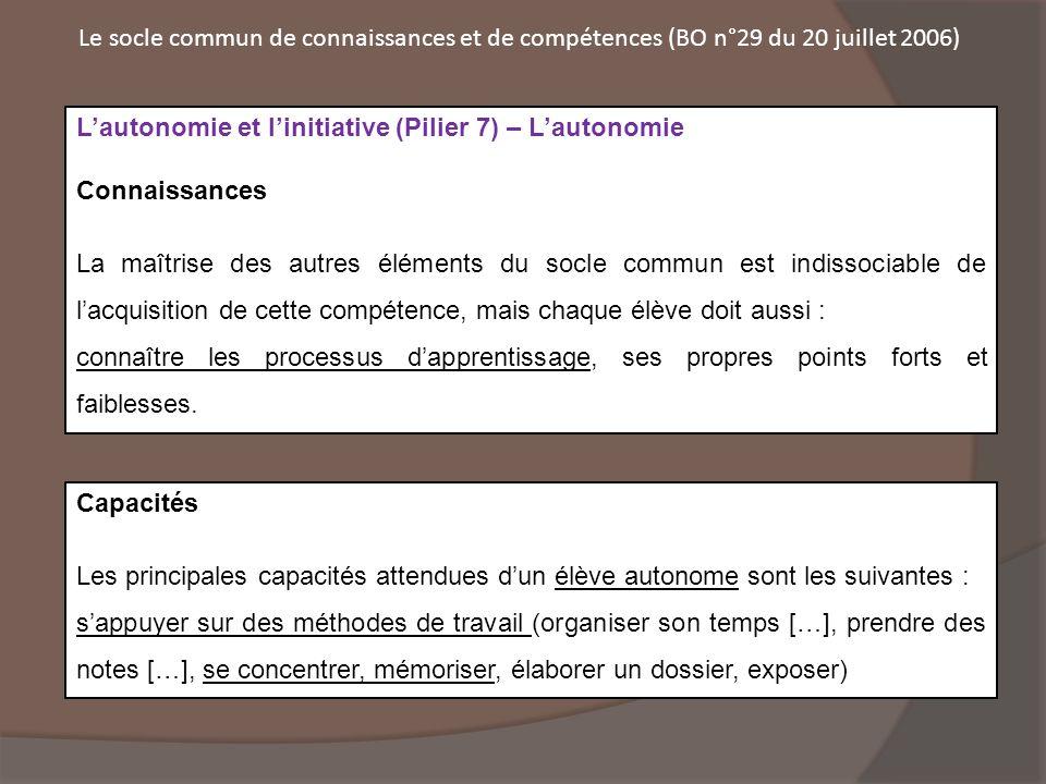 Le socle commun de connaissances et de compétences (BO n°29 du 20 juillet 2006)