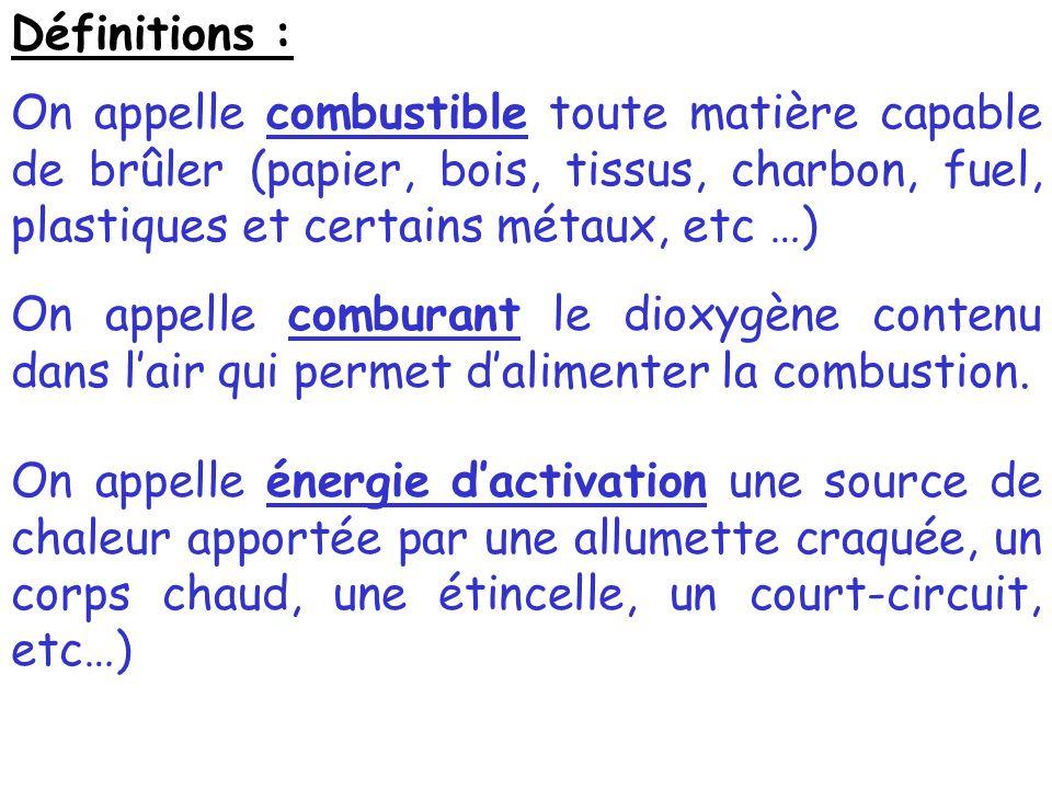 Définitions : On appelle combustible toute matière capable de brûler (papier, bois, tissus, charbon, fuel, plastiques et certains métaux, etc …)