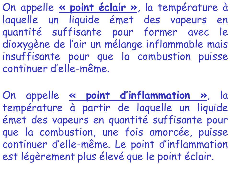 On appelle « point éclair », la température à laquelle un liquide émet des vapeurs en quantité suffisante pour former avec le dioxygène de l'air un mélange inflammable mais insuffisante pour que la combustion puisse continuer d'elle-même.