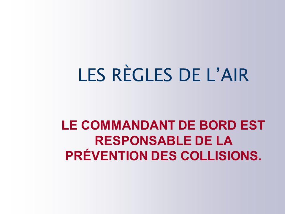 LE COMMANDANT DE BORD EST RESPONSABLE DE LA PRÉVENTION DES COLLISIONS.