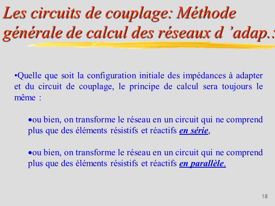 Les circuits de couplage: Méthode générale de calcul des réseaux d 'adap.: