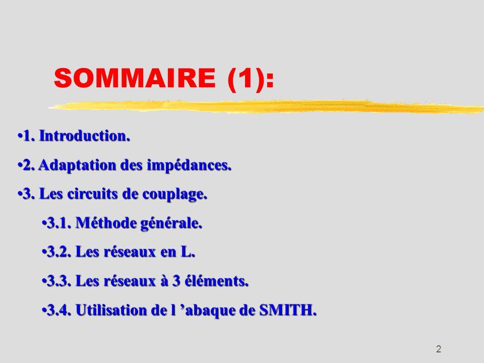 SOMMAIRE (1): 1. Introduction. 2. Adaptation des impédances.