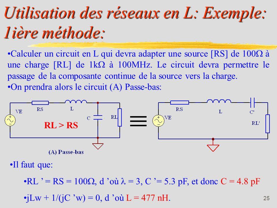 Utilisation des réseaux en L: Exemple: 1ière méthode: