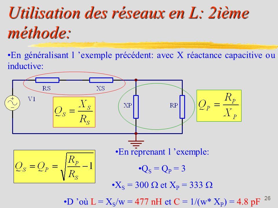 Utilisation des réseaux en L: 2ième méthode:
