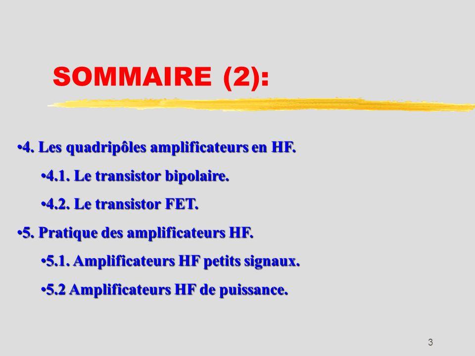SOMMAIRE (2): 4. Les quadripôles amplificateurs en HF.