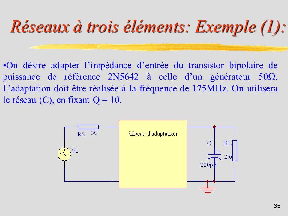 Réseaux à trois éléments: Exemple (1):