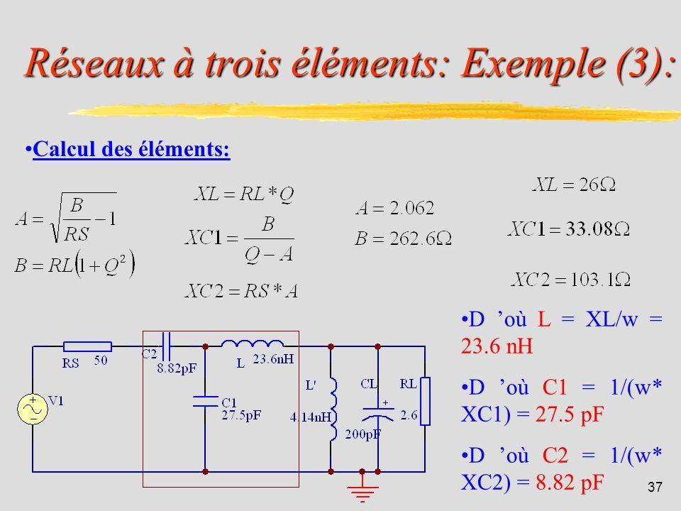 Réseaux à trois éléments: Exemple (3):