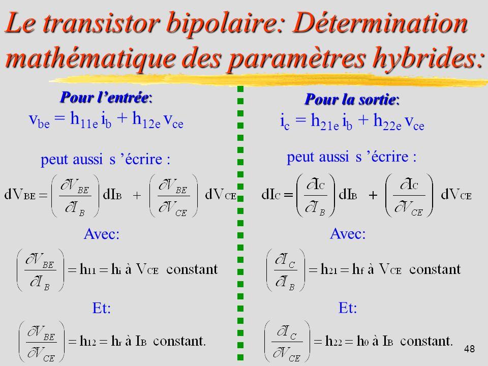 Le transistor bipolaire: Détermination mathématique des paramètres hybrides:
