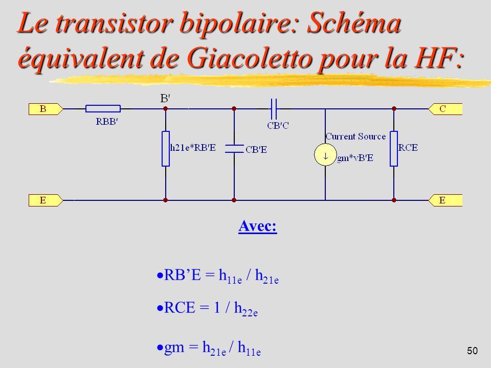 Le transistor bipolaire: Schéma équivalent de Giacoletto pour la HF: