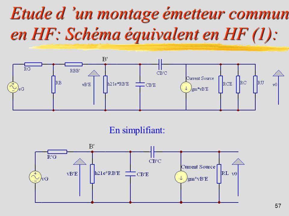 Etude d 'un montage émetteur commun en HF: Schéma équivalent en HF (1):