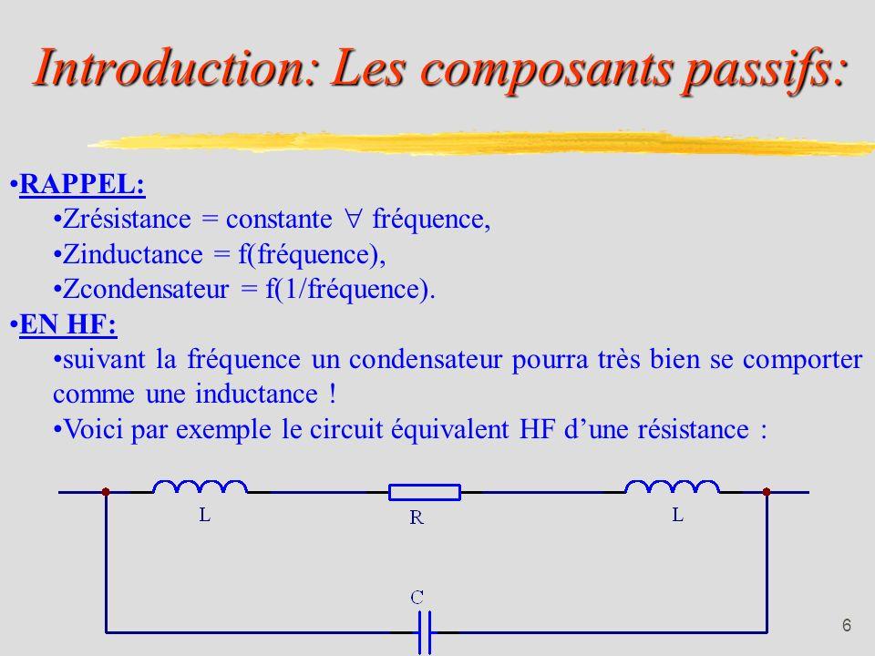 Introduction: Les composants passifs: