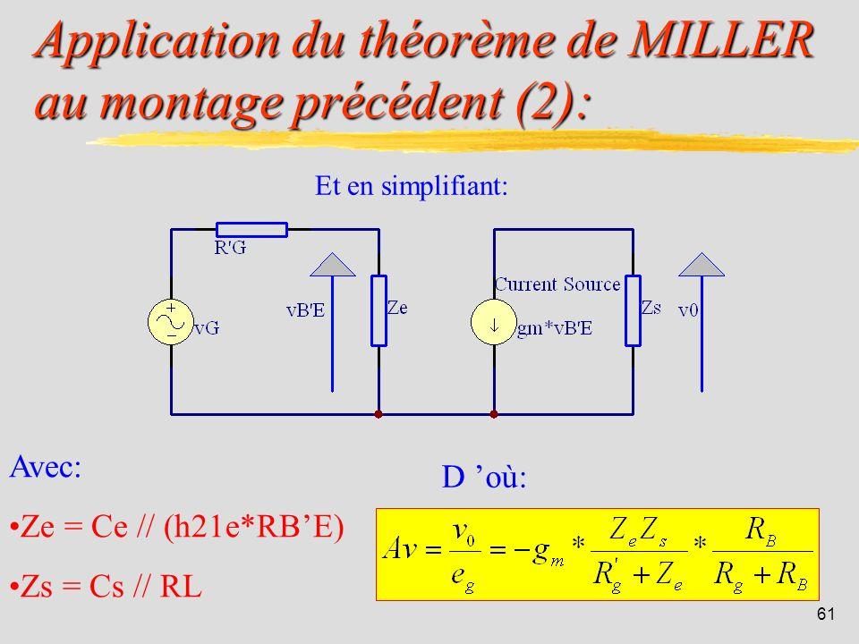 Application du théorème de MILLER au montage précédent (2):