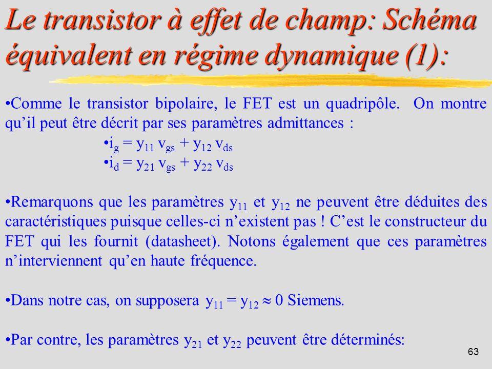 Le transistor à effet de champ: Schéma équivalent en régime dynamique (1):