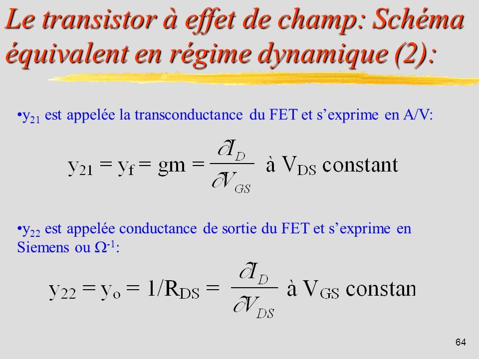 Le transistor à effet de champ: Schéma équivalent en régime dynamique (2):