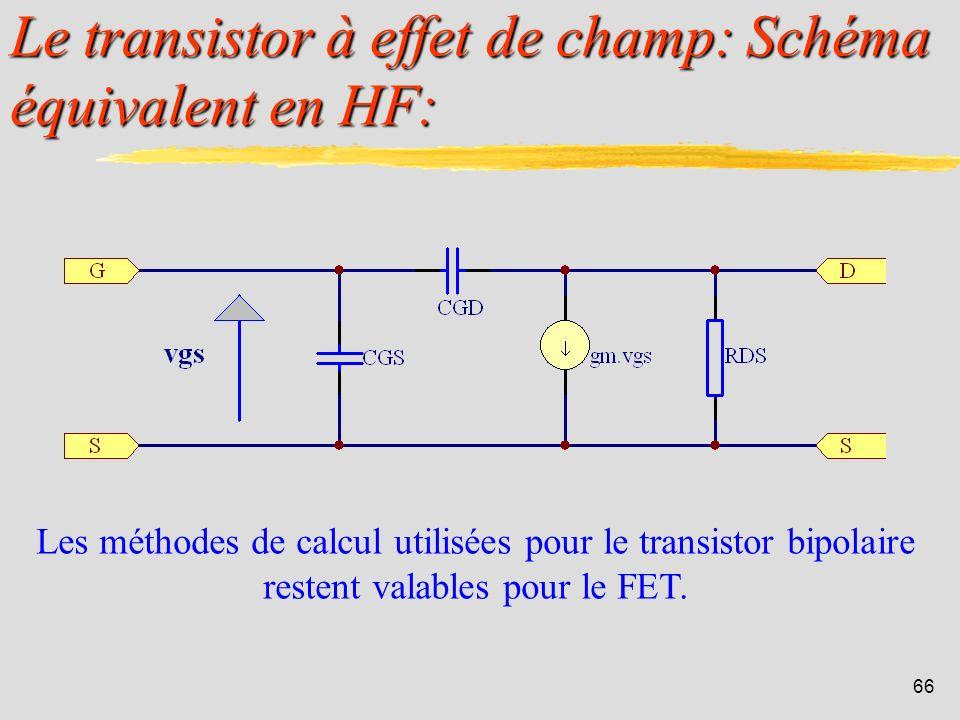 Le transistor à effet de champ: Schéma équivalent en HF: