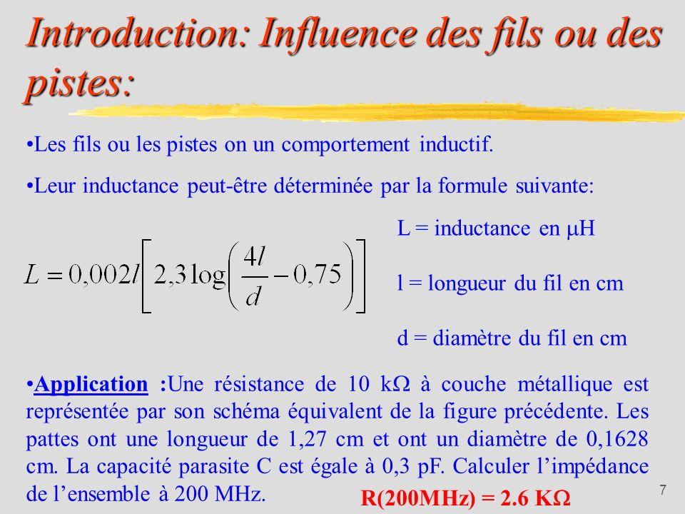 Introduction: Influence des fils ou des pistes: