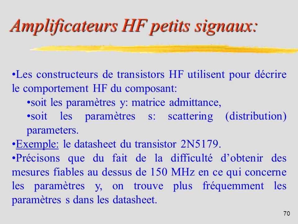 Amplificateurs HF petits signaux: