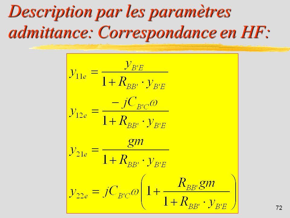 Description par les paramètres admittance: Correspondance en HF: